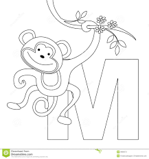 animal alphabet m coloring page stock photos image 9999273