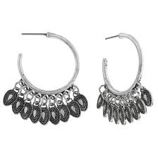post back earring women s metal hoop post back earring with teardrop stones rhodium