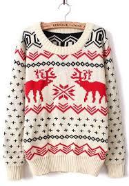 sleeve deer print pullovers sweater sheinside