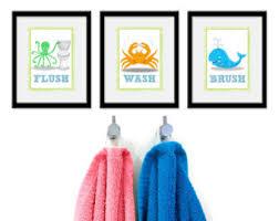 Kids Bathroom Decor Sets Items Similar To Dinosaur Bathroom Kids Art Set Of Three