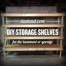 Free Wooden Shelf Bracket Plans by Diy 2x4 Shelving For Garage Or Basement Dadand Com Dadand Com