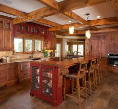 kitchen island with seating wood flooring hexagon tile walls