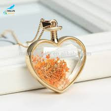 heart shaped charm necklace images Wholesale dried flower heart shape pendant necklace buy dried jpg