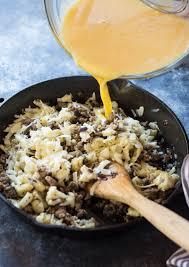 low carb cauliflower breakfast skillet casserole