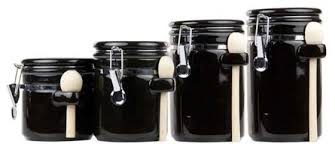 contemporary kitchen canisters home basics 4 ceramic canister set with spoon contemporary
