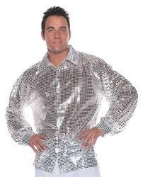 silver disco shirt sequin metallic 70 u0027s retro mens top