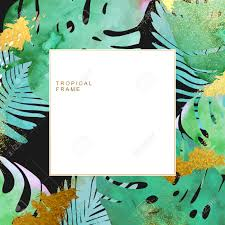 trendy tropical jungle style vector frame template paint textured