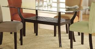 Glass Top Dining Room Tables Rectangular   amazon com rectangular dining table with glass top cappuccino