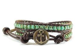 wrap bracelet with anchor images Beaded leather wrap bracelet green picasso czech glass anchor jpg