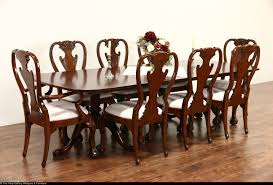mahogany traditional 2 pedestal 1950 vintage dining table 2