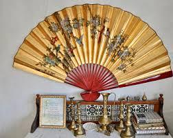 oriental fan wall hanging vintage large wall art etsy