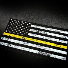 Black And Yellow Flag American Flag Rustic Yellow Stripe Sticker