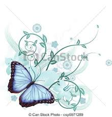 beautiful blue butterfly background beautiful floral eps
