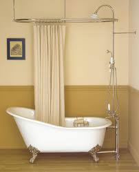 bed u0026 bath oval shower curtain rod and freestanding tub filler