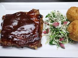 dry rubbed bbq pork ribs with green cabbage slaw recipe pork