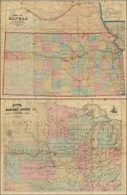 Map Cabinet Map Of Kansas Engraved U0026 Published By Rufus Blanchard 146 Lake