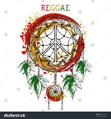 dreamcatcher cannabis leaves peace symbol jamaica stock vector