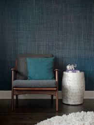 gaile guevara indigo grasscloth wallpaper interiors