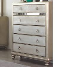 Mirror Chest Of Drawers Coaster Bling Game Chest With 6 Drawers And Stacked Bun Feet Del