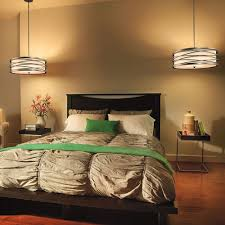 double drum shde pendant lights for calm master bedroom lighting