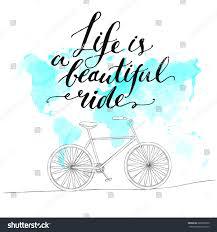 Beautiful World Map by Inspirational Quote Life Beautiful Ride Handwritten Stock Vector