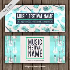 music festival banners with instrument sketches vector free download