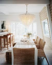 lighting fascinating capiz chandelier and white dining table plus