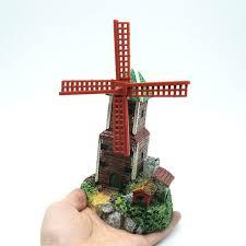 new design air driving windmill castle aquarium ornament waterwheel
