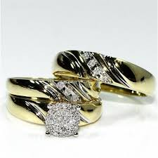 wedding bands sets his and hers his wedding rings set trio men women 10k yellow gold real diamonds