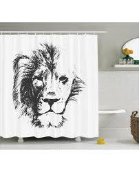shower curtain sketchy jungle lion print for bathroom