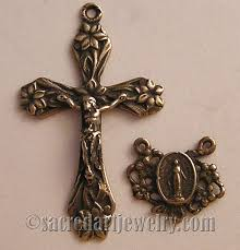 rosary parts lilies crucifix miraculous center rosary parts set sterling