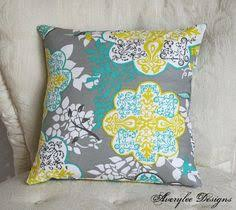 decorative throw pillow cover cushion accent gray yellow teal