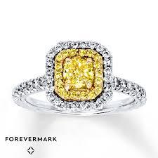 5 Carat Cushion Cut Engagement Rings Jared Yellow Diamond Engagement Ring 1 1 5 Ct Tw 18k White Gold