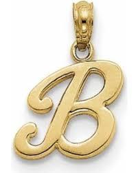 great deal on 14k yellow gold upper case letter b fancy cursive