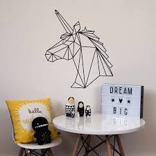 Unicorn Home Decor Geometric Unicorn Wall Sticker Wall Sticker Unicorns And Walls