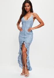 lace maxi dress blue strappy dip hem lace maxi dress missguided