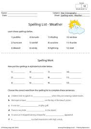 primaryleap co uk spelling list weather worksheet english