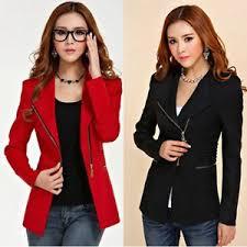 design of jacket suit new fashion womens coat slim ladies blazer zipper design long sleeve