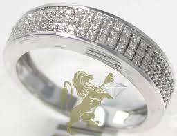 mens white gold diamond wedding bands 0 40ct 10k solid white gold diamond ring classic pave band