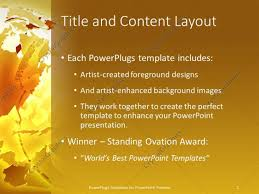 powerpoint template abstract deconstructed globe on gold