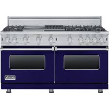 viking freestanding double oven gas convection range cobalt