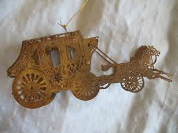 vintage sears christmas ornament horse drawn carriage metal 3 d