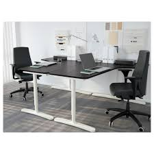Desks Office by Bekant Corner Desk Right Black Brown White 160x110 Cm Ikea