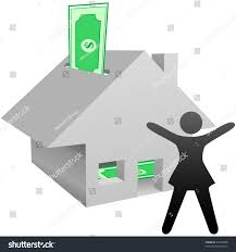 Value Of Home by Symbol Person Celebrates Working Home Income Stock Vector 27079048