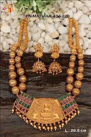 real gold necklace designs images One gram gold necklace set in real temlple ruby and emerald dsep02 jpg