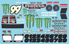sc10 monster energy decal team