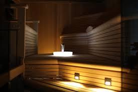 custom sauna on staten island with custom lighting and sink