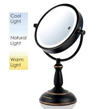 Magnifying Mirror With Light Lighted Makeup Mirror Bronze Roselawnlutheran