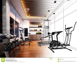 abstract sketch design of interior fitness room stock photo