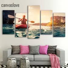 compare prices on wall paintings for girls room online shopping 5 piece canvas art hd print kayak girl sailing home decor painting paintings for living room